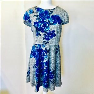 BETSEY JOHNSON A-Line Floral Dress Blue Gray 14